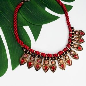 Red twine necklace with red stones pendants